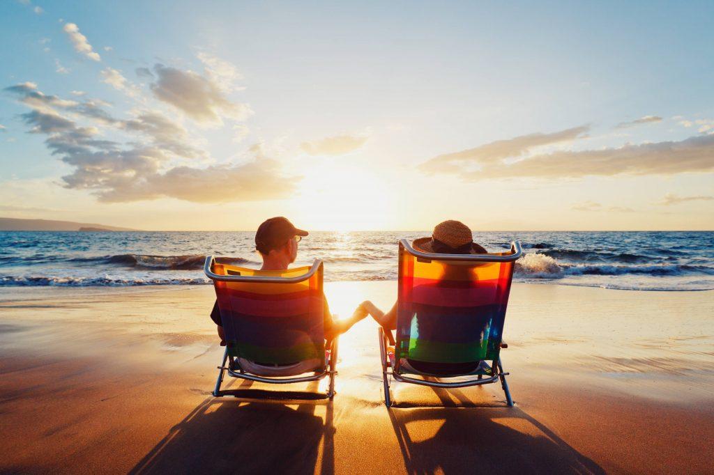 sunset beach couple