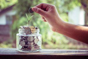 coin lending money jar